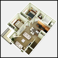14 Plex Upper Floor Corner Unit - rendered floor plan