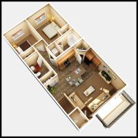 14 Plex Upper Floor Inside Unit - rendered floor plan