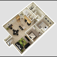 12 Plex Lower Floor Unit - rendered floor plan
