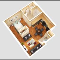 14 Plex Main Floor Studio 1 Unit - rendered floor plan