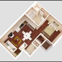 14 Plex Main Floor Studio 2 Unit - rendered floor plan