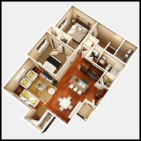 8 Plex Main Floor Unit - rendered floor plan