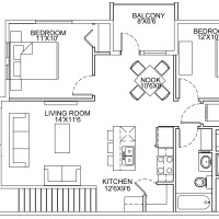8 Plex Upper Floor Unit floor plan (mirrored)