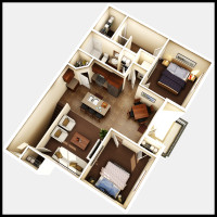 8 Plex Upper Floor Unit - rendered floor plan